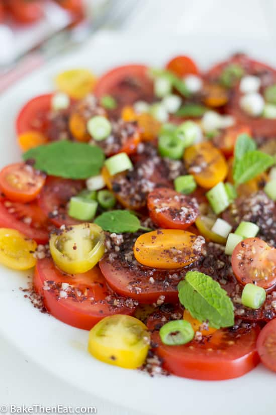 A close up of the Simple Summer Tomato Salad plated and ready for serving
