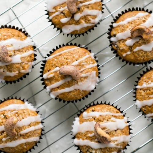 Cashew Sultana Pumpkin Muffins on a cooling rack.