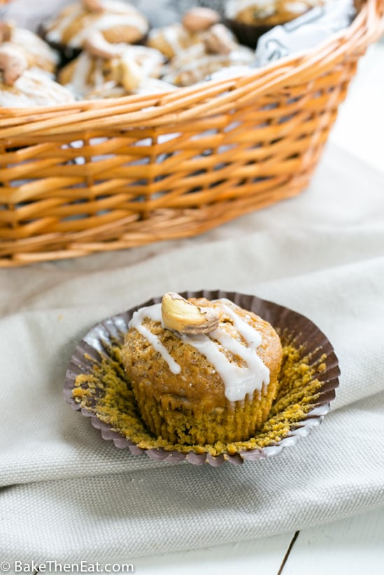 Cashew Sultana Pumpkin Muffins with the wrapper off and ready to eat