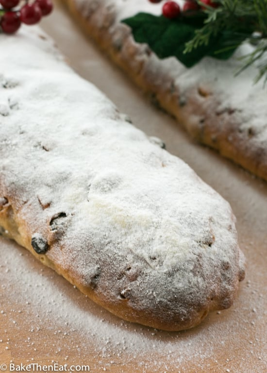 A close up of the Slightly Altered Paul Hollywoods Christmas Stollen.