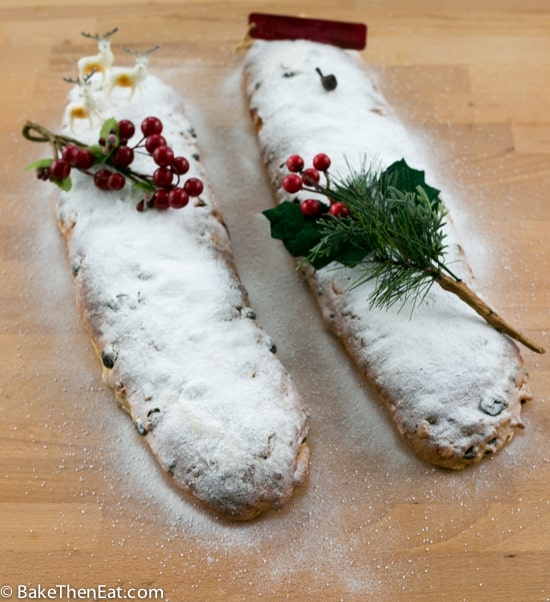 Two loaves of Slightly Altered Paul Hollywoods Christmas Stollen