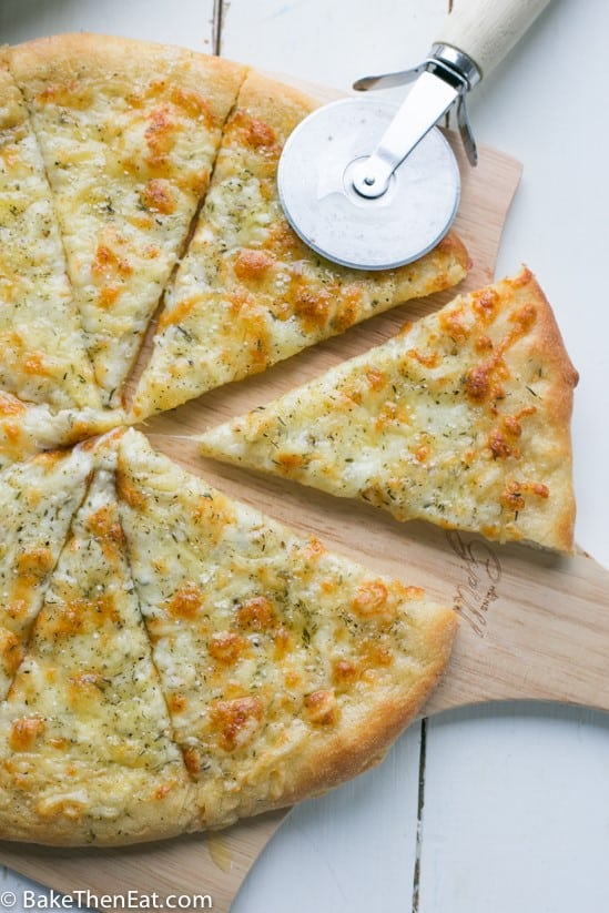 cheesy garlic bread sliced into 8 pieces